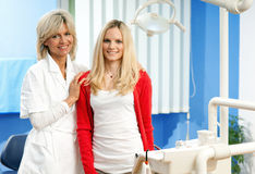 Woman dentist with female patient Stock Photo