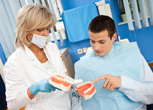 Woman dentist with male patient Stock Photography