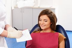 Woman at dentist's surgery Royalty Free Stock Image