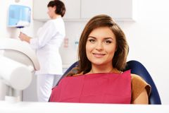 Woman at dentist's surgery Royalty Free Stock Photography