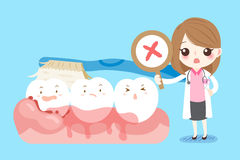Woman dentist with tooth. Cute cartoon woman dentist with tooth decay problem Stock Photos