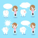 Woman dentist with tooth. Cute cartoon woman dentist with tooth and speech bubble Royalty Free Stock Photo