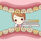 Woman dentist uses dental table Royalty Free Stock Photos