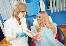 Woman dentist at work Stock Photo