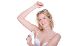 Woman with deodorant Royalty Free Stock Photos