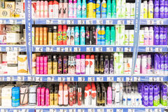Woman Deodorant Spray On Supermarket Stand Royalty Free Stock Photo