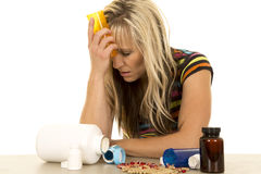 Woman depressed with lots of pills Royalty Free Stock Image