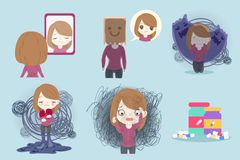 Woman with depressed problem. On the blue background vector illustration