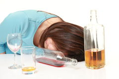 Woman in depression is drinking alcohol Royalty Free Stock Photo
