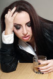 Woman in depression drinking alcohol Stock Photo