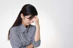 Woman in depression. Tired and stressed Asian woman Stock Photos