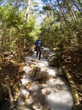 Woman descending in icy trail. Woman descending an icy trail in the mountains Stock Images