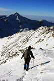 Woman descending from the top of the mountain in Retezat mountains, Romania Stock Photography