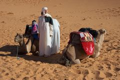 The woman in desert. Tourist woman in desert sahara Stock Image