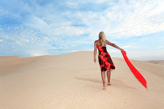 Woman in desert Stock Photo
