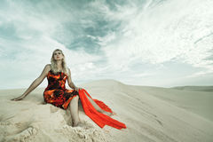 Woman in desert Royalty Free Stock Photography