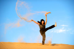 Woman in the desert Royalty Free Stock Images