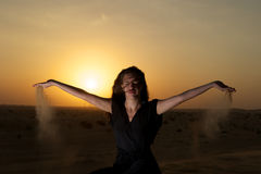 Woman in the desert Royalty Free Stock Photography