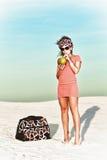 Woman in desert Stock Photo