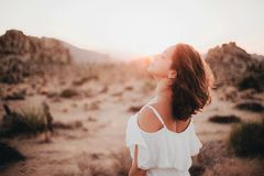 Woman in desert Stock Photos
