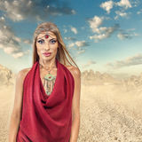 Woman in desert Royalty Free Stock Images