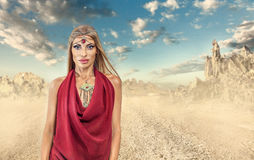 Woman in desert Stock Images