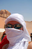 Woman in the desert, Jordan Stock Photos