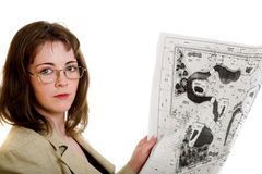 Woman with a design drawing Stock Photography