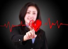 Woman designed drawing chart heartbeat Stock Photo