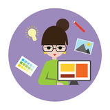 Woman designer. Design all what you want. She has an idea and ready to implement it illustration Royalty Free Stock Photos