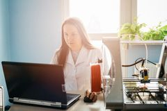 Woman designing prototype for 3d printing Royalty Free Stock Photo
