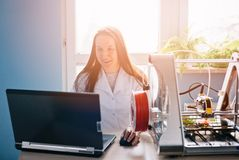 Woman designing prototype for 3d printing Royalty Free Stock Photos