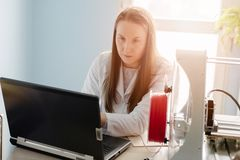 Woman designing prototype for 3d printing Royalty Free Stock Image