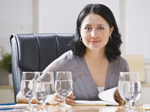 Woman at Desk in Office Stock Images