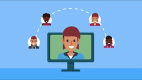 woman in desktop with social media community