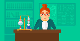 Woman in despair clutching her head. A woman in despair clutching her head on the background of chemistry laboratory vector flat design illustration. Horizontal Royalty Free Stock Image