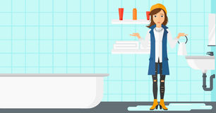 Woman in despair standing near leaking sink. Stock Photography