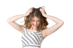 Woman in despair. Woman who screams in rage Royalty Free Stock Images
