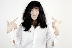Woman desperate about messy hair Royalty Free Stock Photography
