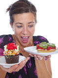 Woman with dessert Stock Images