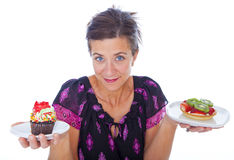 Woman with dessert Royalty Free Stock Photo