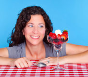 Woman and dessert Royalty Free Stock Photo