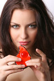 Woman with dessert. Attractive young woman with dessert on white backgound Royalty Free Stock Image