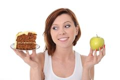 Woman Dessert Choice Cake or Apple Stock Photography