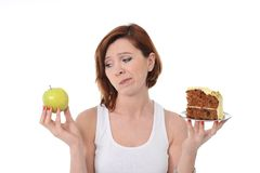 Woman Dessert Choice Cake or Apple Stock Photos