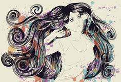 Woman with detailed hair and paint Stock Images