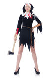 Woman devil with axe Royalty Free Stock Photography