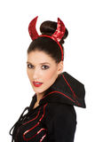 Woman in devil carnival costume. Stock Images