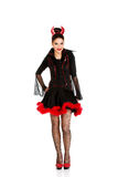 Woman in devil carnival costume. Royalty Free Stock Images