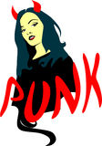 Woman with devil horns and `punk`subtitles Royalty Free Stock Images